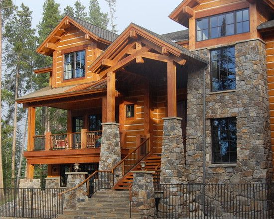 Spaces Alpine Chalet Design, Pictures, Remodel, Decor and Ideas - page 10  shows both kinds of detailing