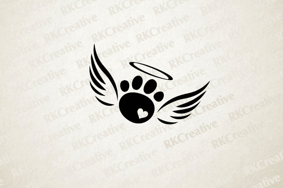 Paw With Wings Vinyl Decal For Truck Car Or Window  Dog Pet Angel