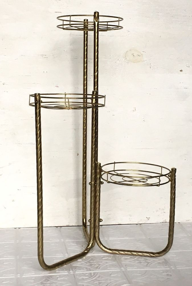 Vintage Mid Century Modern 3 Tier Tall Metal Plant Stand Table Gold Brass Metal Unbranded Midcenturymodern Metal