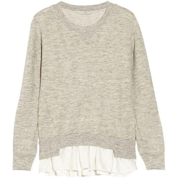 CLU Ruffled-hem cotton-terry sweatshirt ($144) ❤ liked on Polyvore featuring tops, hoodies, sweatshirts, sweaters, sweatshirt, cotton sweatshirt, marled sweatshirt, ruffle hem top, clu and terry top