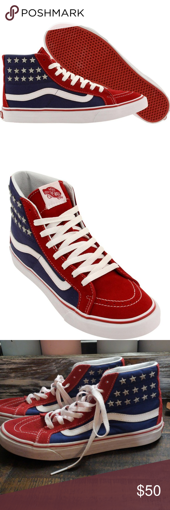 9a6f8549bc Vans SK8-Hi Slim (Studded Stars)Red Blue EuC shoe laces a little pink.  Brightly colored canvas and leather upper. Metal patriotic stars over  padded ankles.