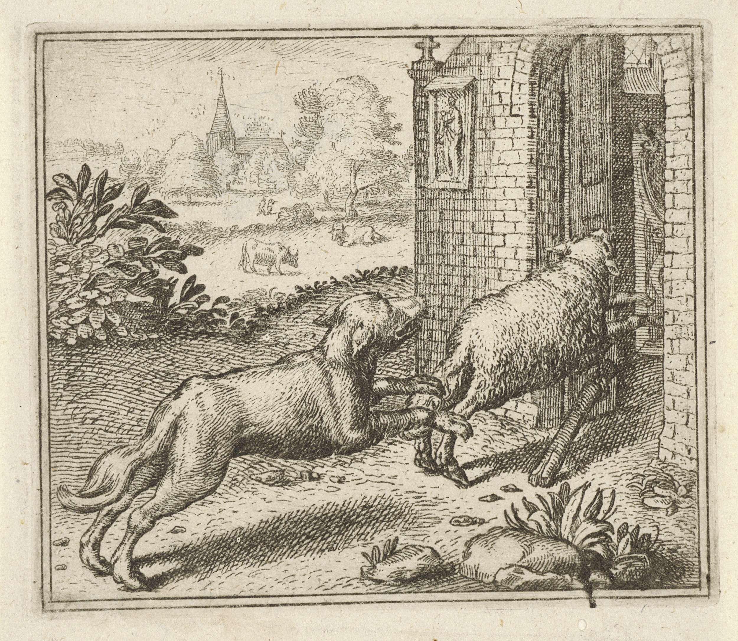 Aegidius Sadeler | Fabel van de wolf en het schaap, Aegidius Sadeler, Anonymous, Marcus Gheeraerts (I), 1608 - 1679 | Een schaap rent een kerk binnen, gevolgd door een wolf. De fabel beschrijft hoe een wolf een schaap achtervolgt en opgesloten wordt in een kerk. De moraal van het verhaal leert dat men beter zijn lusten kan bedwingen.