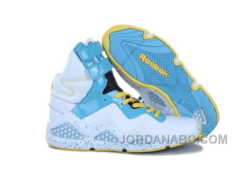 big sale 304a6 1a025 Authentic Nike Shoes For Sale Reebok Womens CL Chi-Kaze White Blue Yellow   wms basket -. Buy Reebok Womens CL Chi-Kaze High-Top Strap Kicks ...
