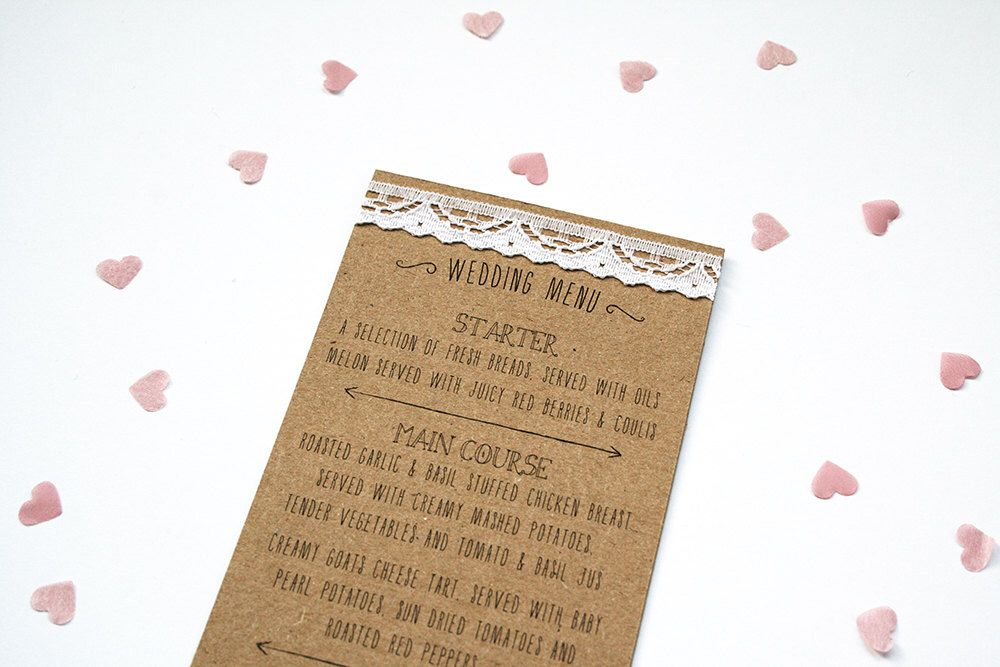Rustic Kraft, Lace and Pearl Wedding Menu - Recycled kraft finished with Lace and Pearl Detailing by LittleIndieStudio on Etsy https://www.etsy.com/listing/279094660/rustic-kraft-lace-and-pearl-wedding-menu