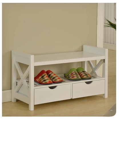 white wood bench storage drawers shoe rack seat entryway hall bedroom furniture 197