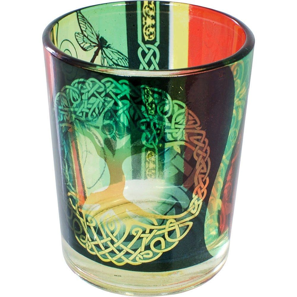 Celtic TREE OF LIFE Glass VOTIVE Altar Spell CANDLE HOLDER Wicca