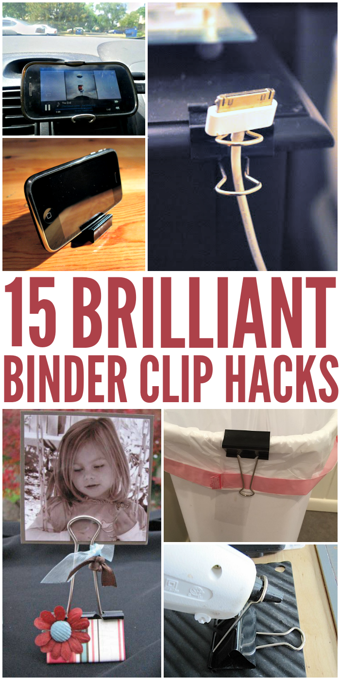 Binder Clip Hacks That Will Blow Your Mind Brilliant life hacks using binder clips that are so genius you'll wonder why you never thought of them yourself. Use them in the car, for crafting, and more!Brilliant life hacks using binder clips that are so genius you'll wonder why you never thought of them yourself. Use them in the car, for crafting, and more!
