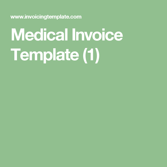 Medical Invoice Template   HealthMedical And Hospitals