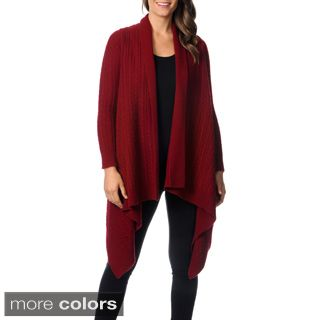 Ply Cashmere Women's Long Sleeve Waterfall Cardigan | V Style ...