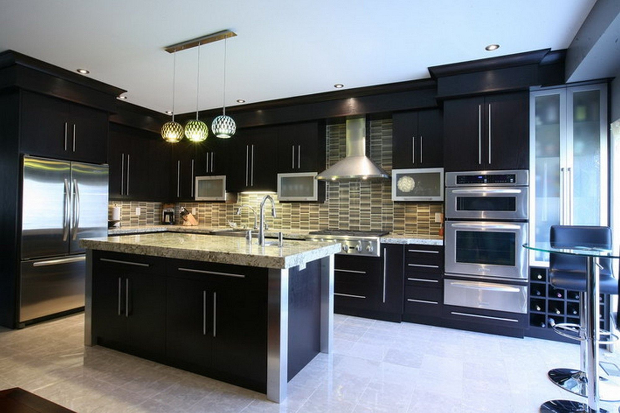 Kitchen Ideas Dark Cabinets Modern kitchen, white springs granite with dark cabinets and unique