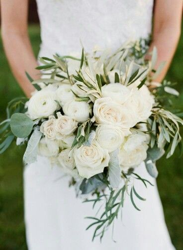 """Rustic & """"Wild"""" Bridal Bouquet Composed Of White Lisianthus, Rose, Ranunculus, & Mixed Green Foliage...."""