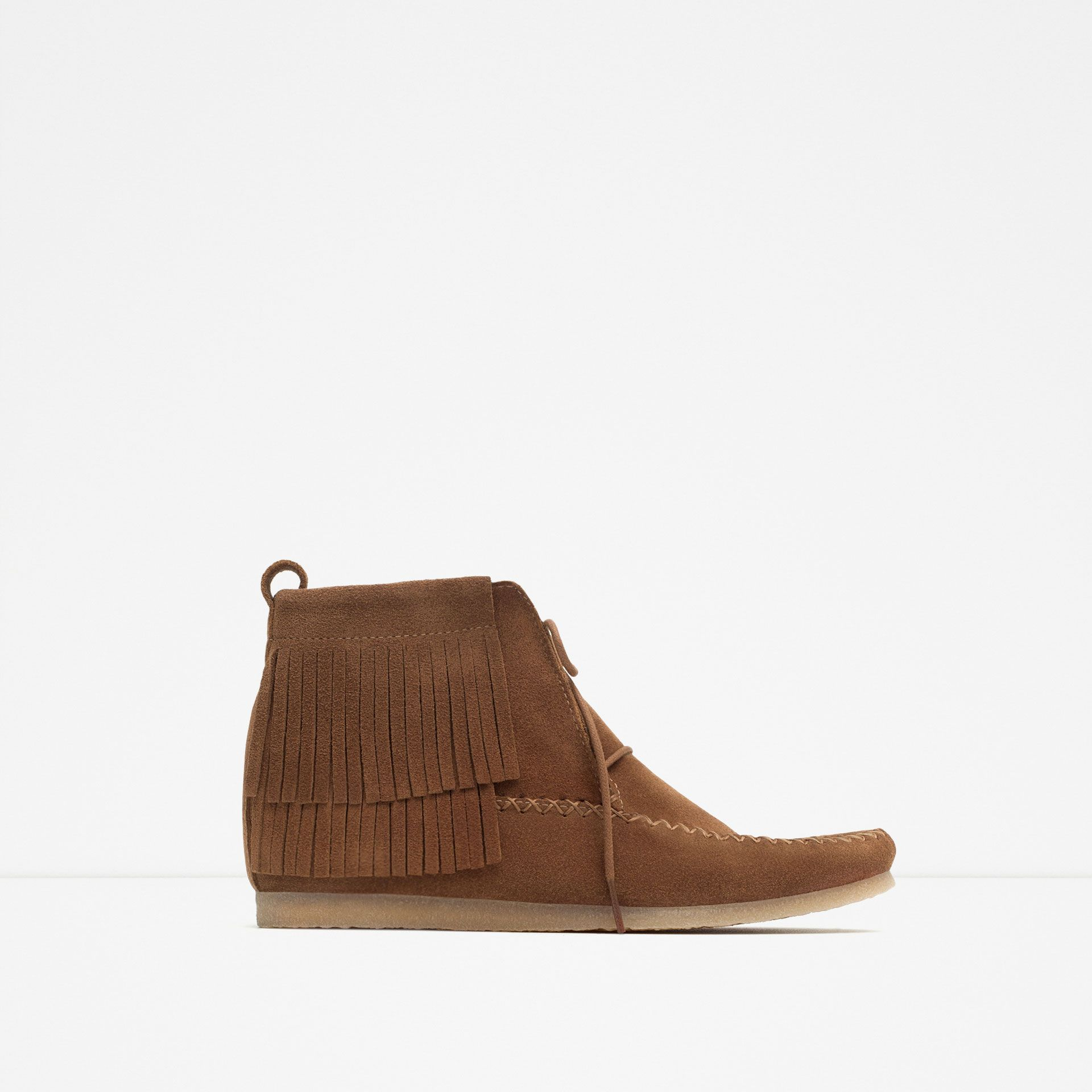 ZARA - WOMAN - LEATHER FLAT BOOTIE WITH FRINGE