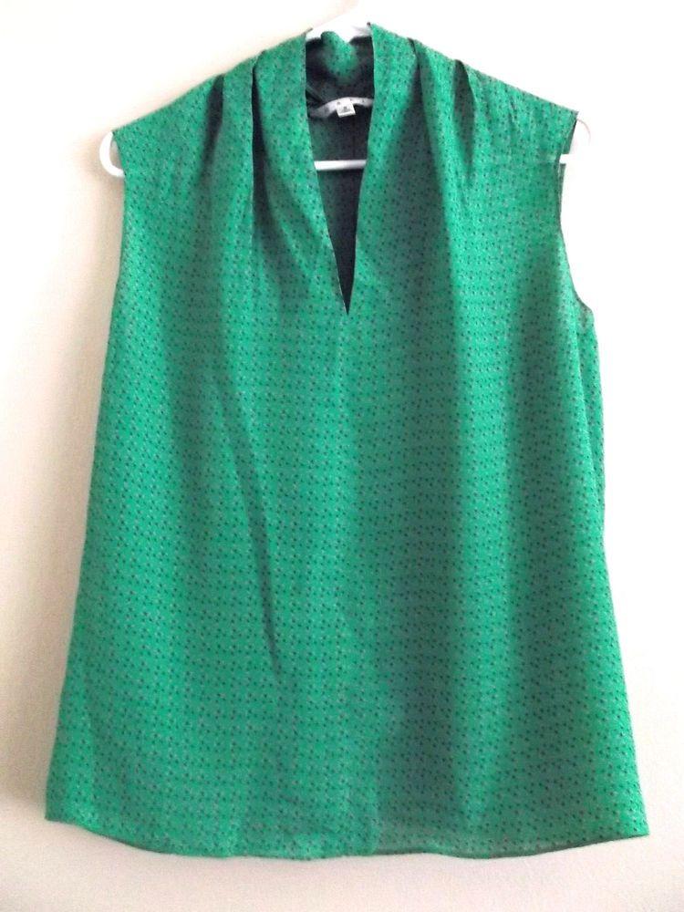 e0539963cf5f4f Cabi Womens Top Silk Blend Sleeveless Semi Sheer Green V Neck Style 124  Size S #CAbi #Vneck #Career