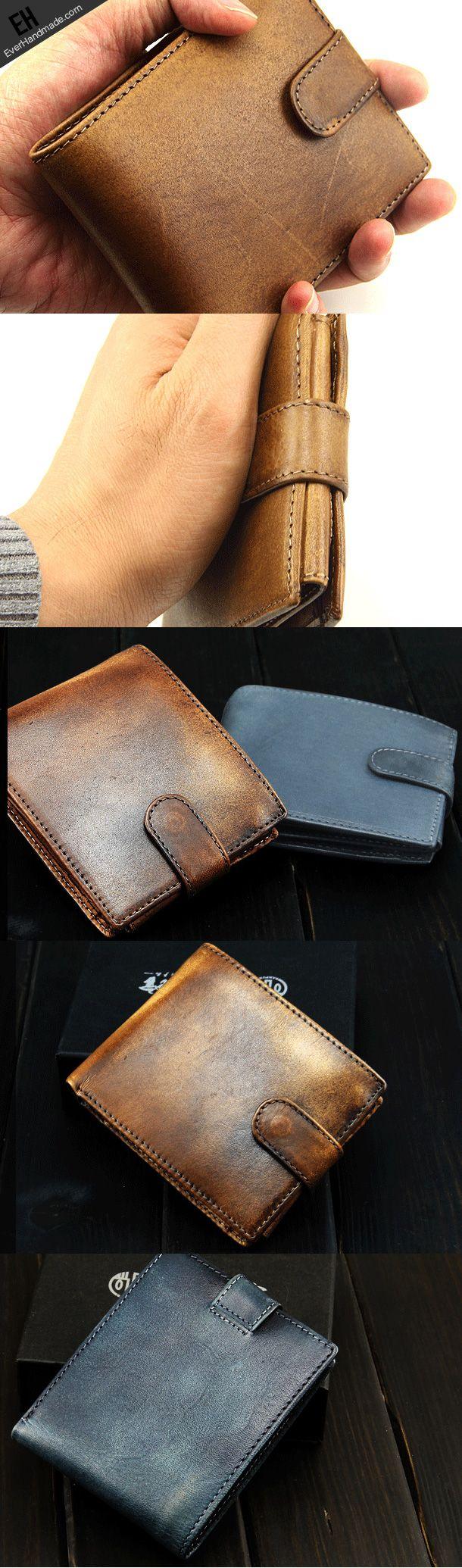 Handmade men short leather wallet men vintage brown navy short ...