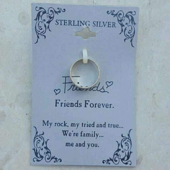 """NEW Engraved Friends Ring, Sterling Silver This touching engraved ring is a great gift to show your pal how much she means to you, and is sterling silver which means it will never, ever tarnish and is hypoallergenic!   True to color only on the first pic. Ring has been removed from card to be featured in a lovely black velvet ring box.  Card reads: """"Friends Forever. My rock, my tried and true... we're family... me and you.""""  Proceeds go to a *great* cause: the mental health movement :)  Size…"""