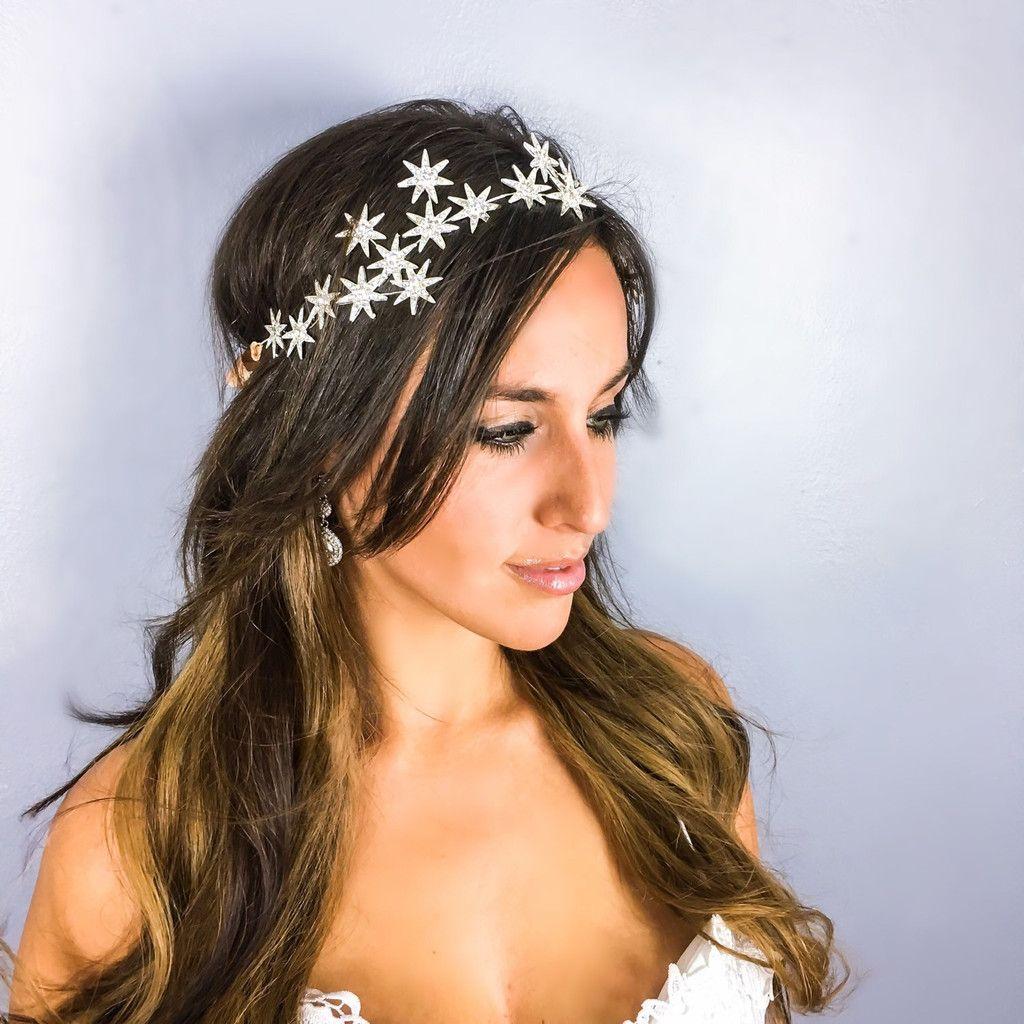 Bridal headband bridal headpiece starry night head wreath prom