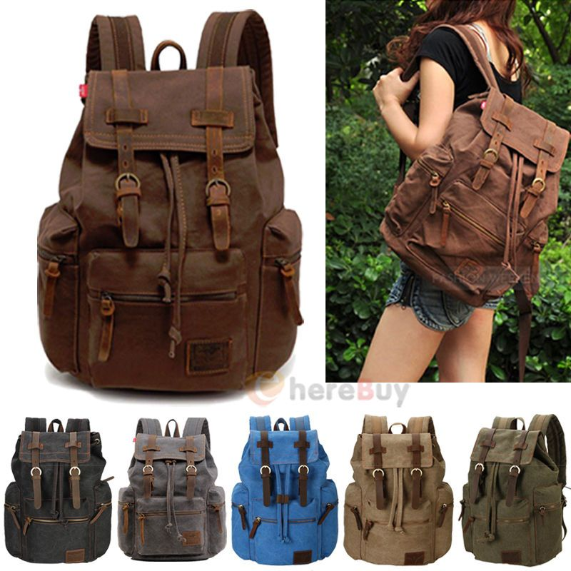 Awesome Men Women Travel Retro Canvas Backpack Rucksack School Bookbag Laptop Hiking Bag Army Green