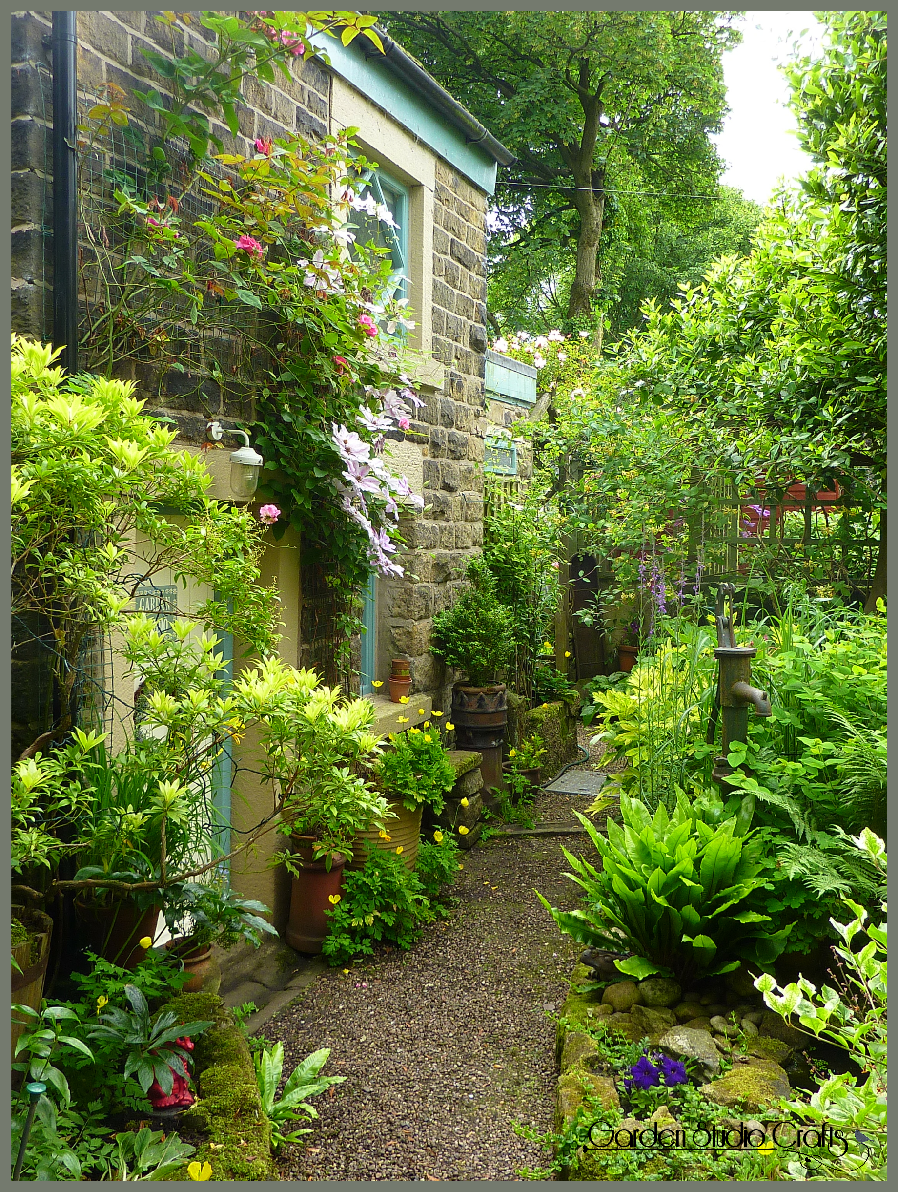 garden path at the front of the studio