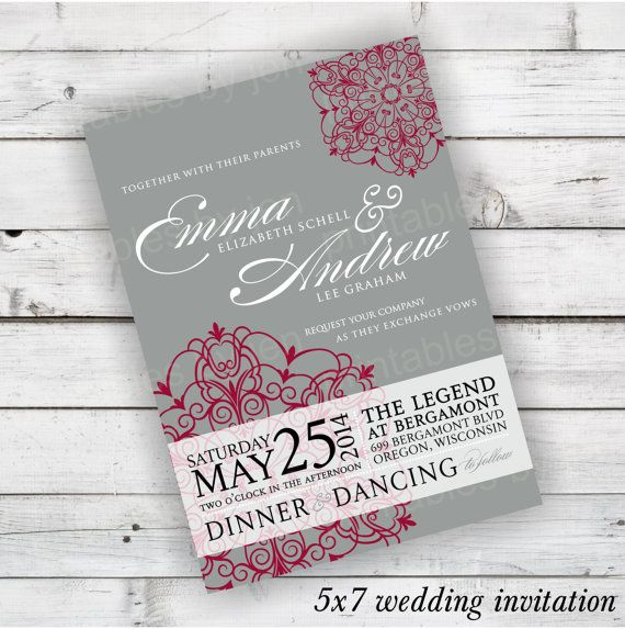 Diy Wedding Invitation Printable In Light Grey And Cranberry Red