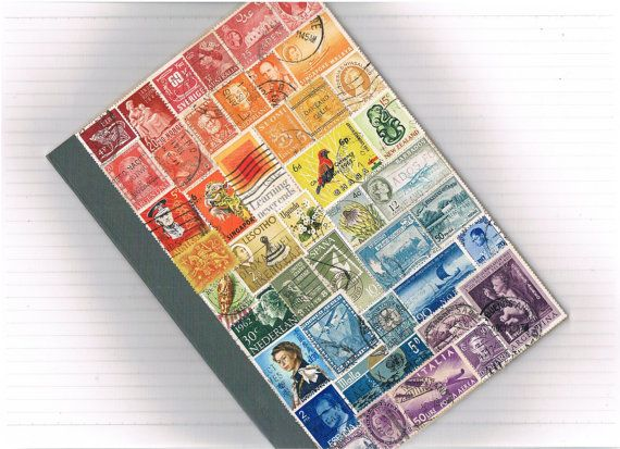 Rainbow Travel Journal - Recycled Rainbow, Upcycled Postage Stamp Art Collage Notebook, Medium Lined A5  - OOAK, spectrum colours, spiritual