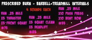 Barbell+Treadmill  Intervals
