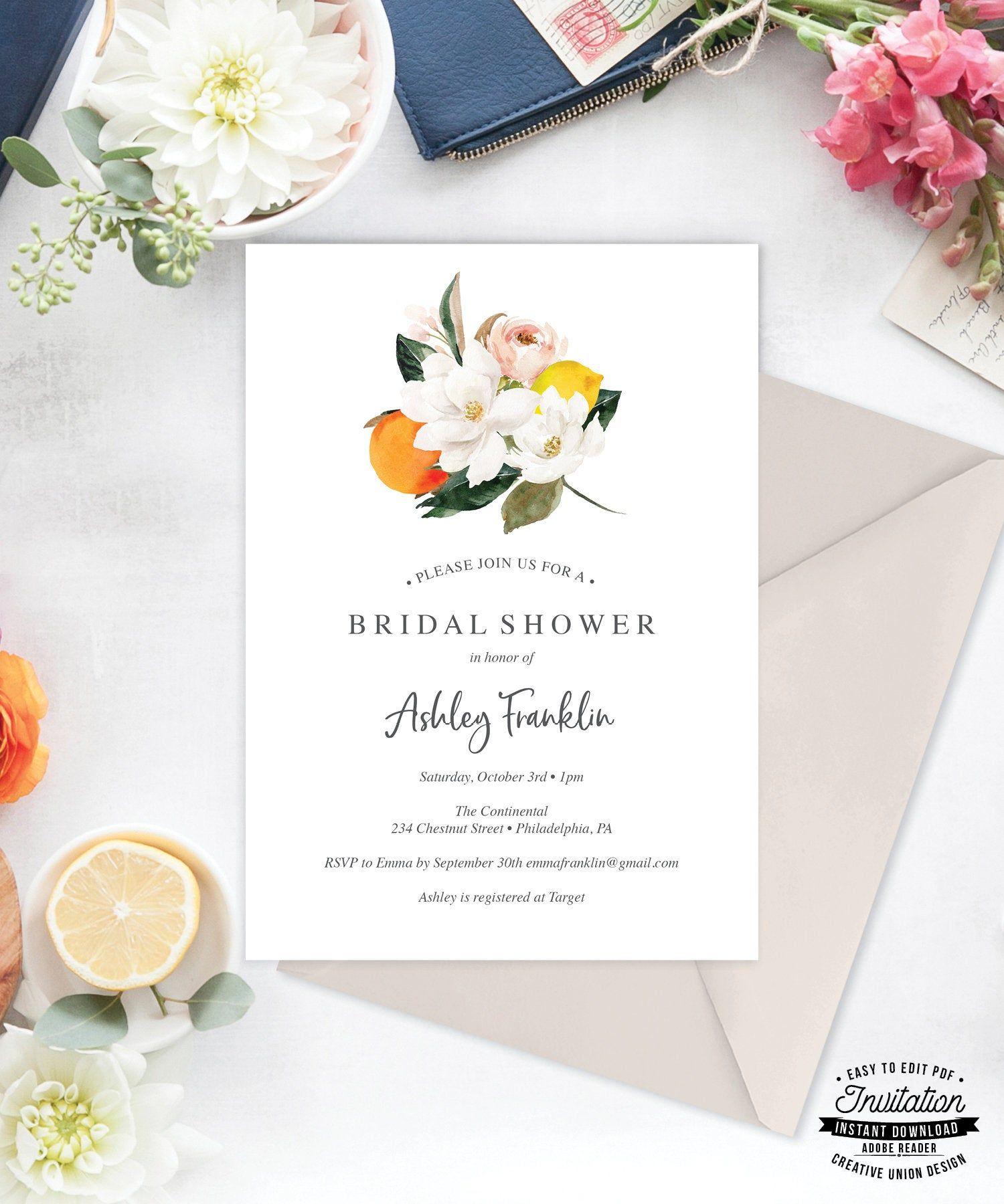 Vintage Bridal Shower Invitation Bridal Shower Invite Editable