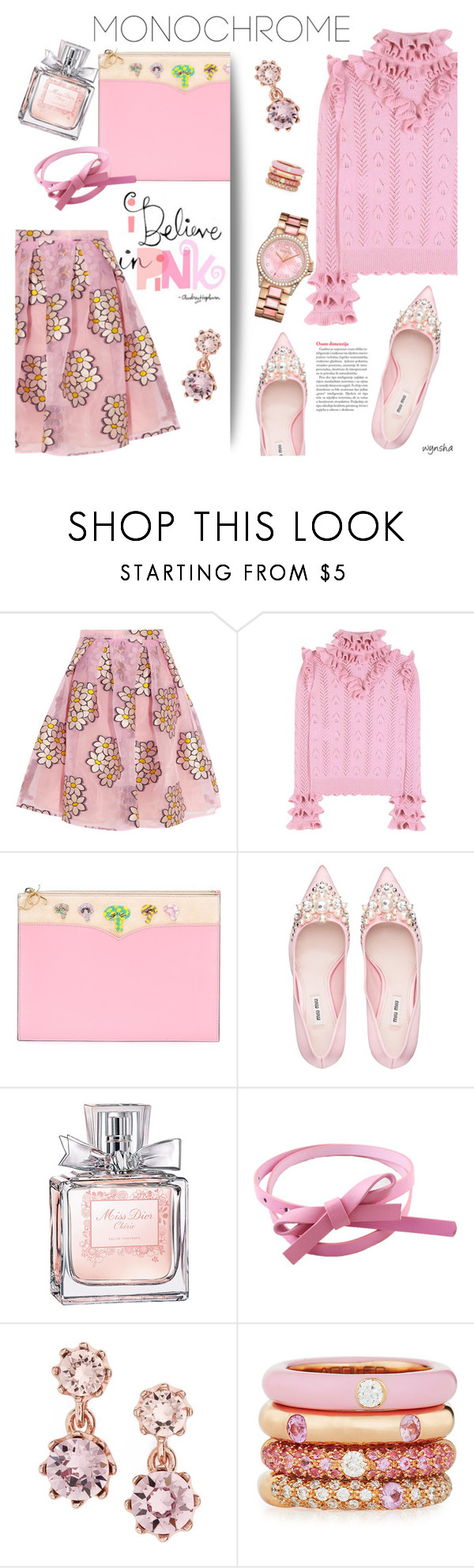 """""""Monochrome PINK #2"""" by wynsha ❤ liked on Polyvore featuring RED Valentino, Gucci, Olympia Le-Tan, Miu Miu, Christian Dior, Ted Baker, Adolfo Courrier and Juicy Couture"""