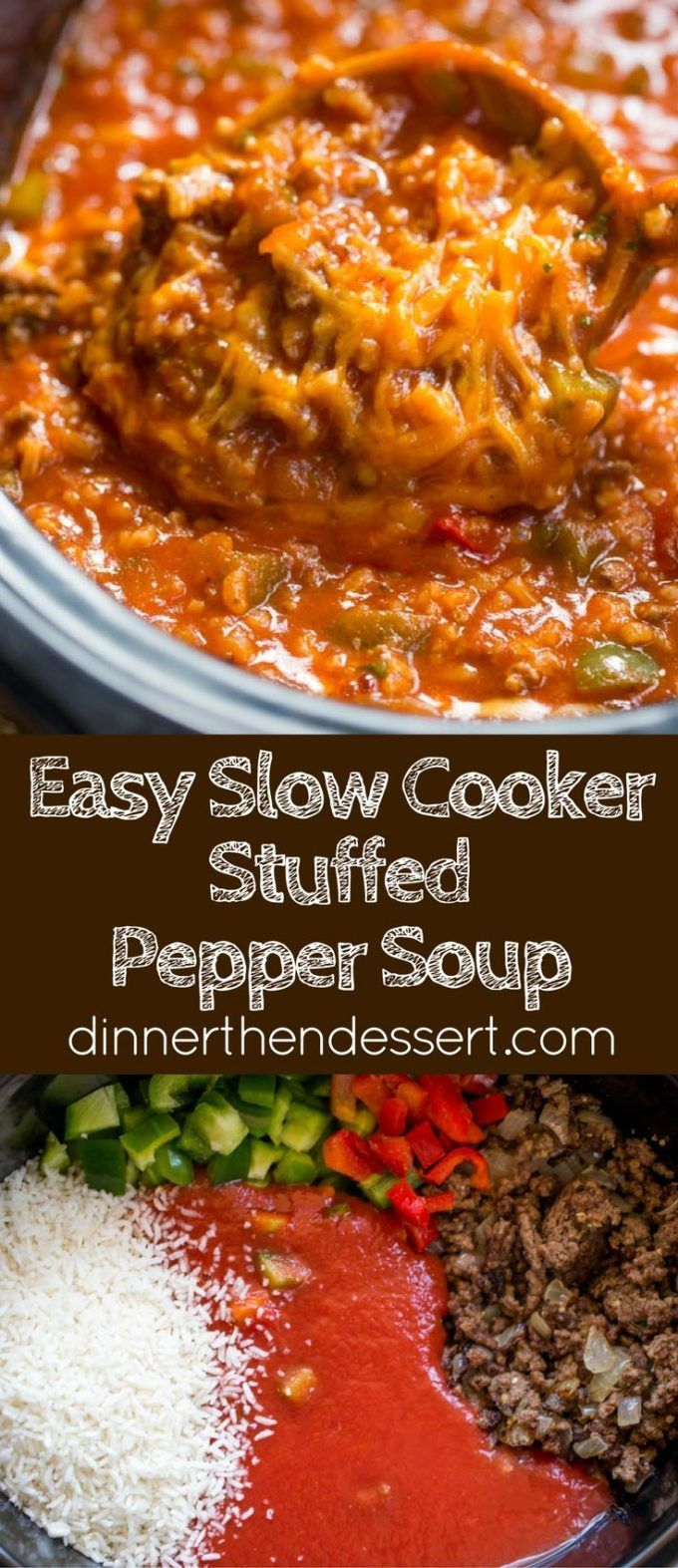 Slow Cooker Stuffed Pepper Soup Is Made With Ground Beef Bell Peppers Onions And Tomato Sauce Slow Cooker Stuffed Peppers Stuffed Peppers Stuffed Pepper Soup