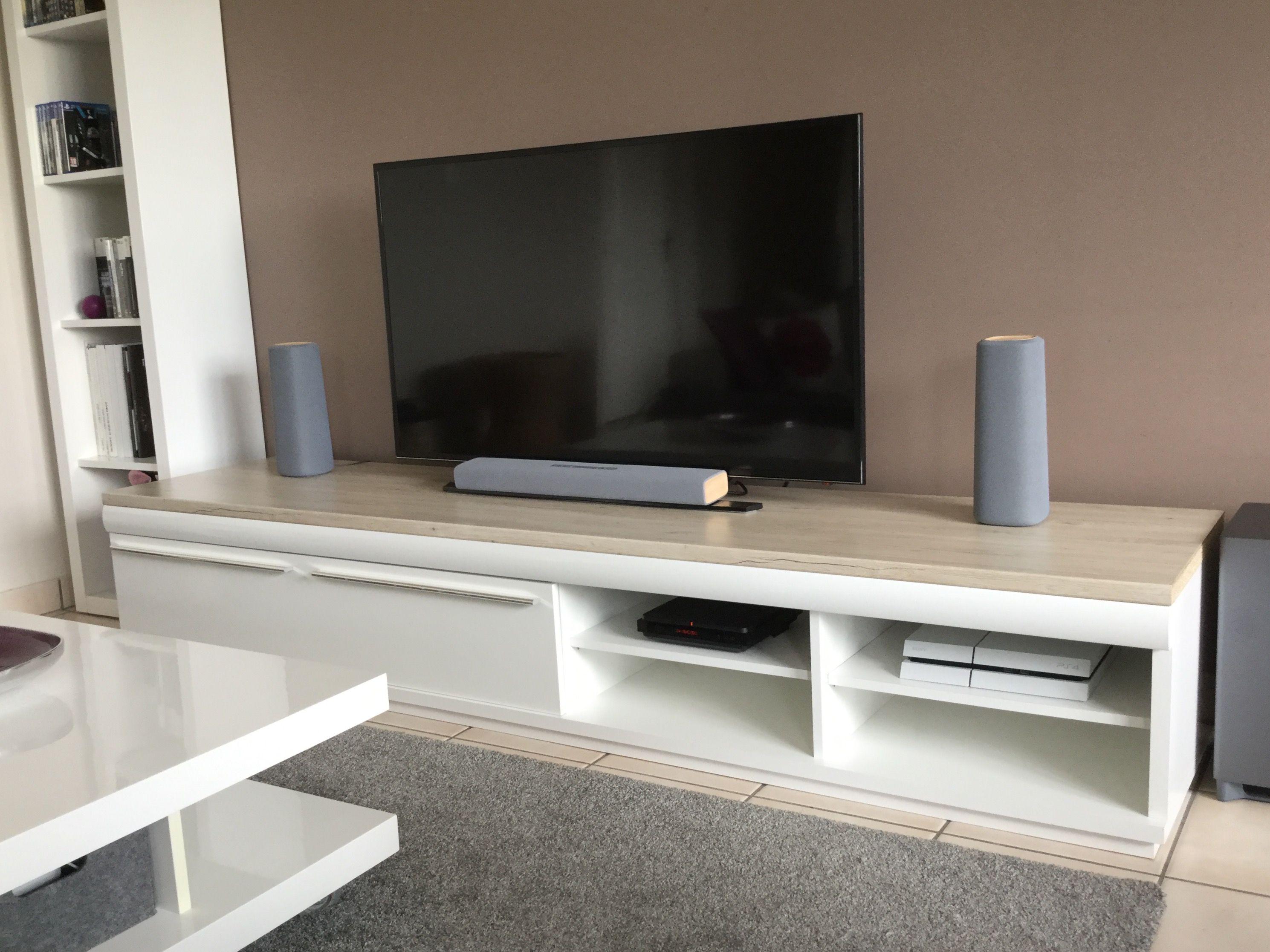 meuble tv blanc salon bois