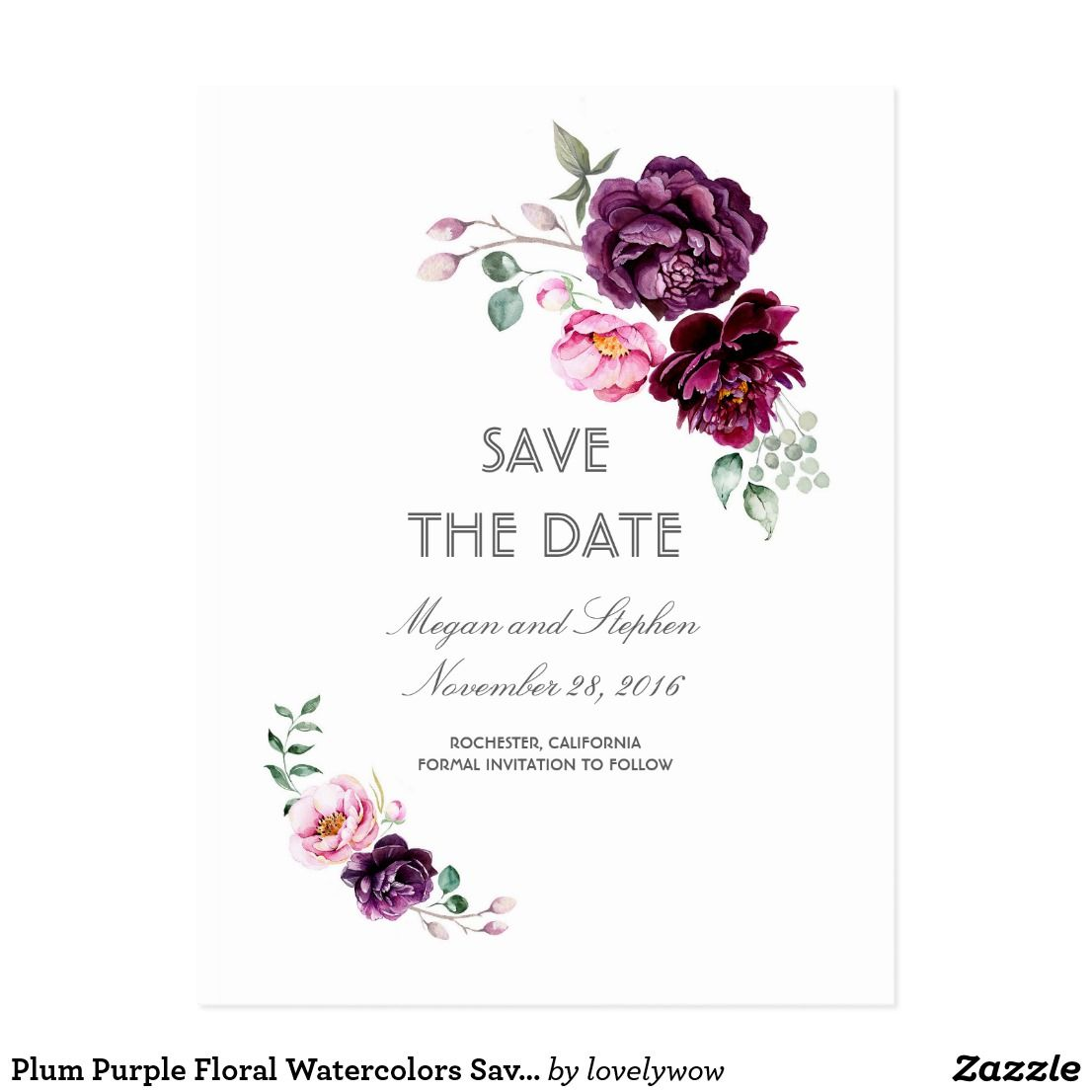 34ab2878a2439 Plum Purple Floral Watercolors Save the Date Postcard Plum purple, burgundy  and blush flowers watercolor save the date postcards