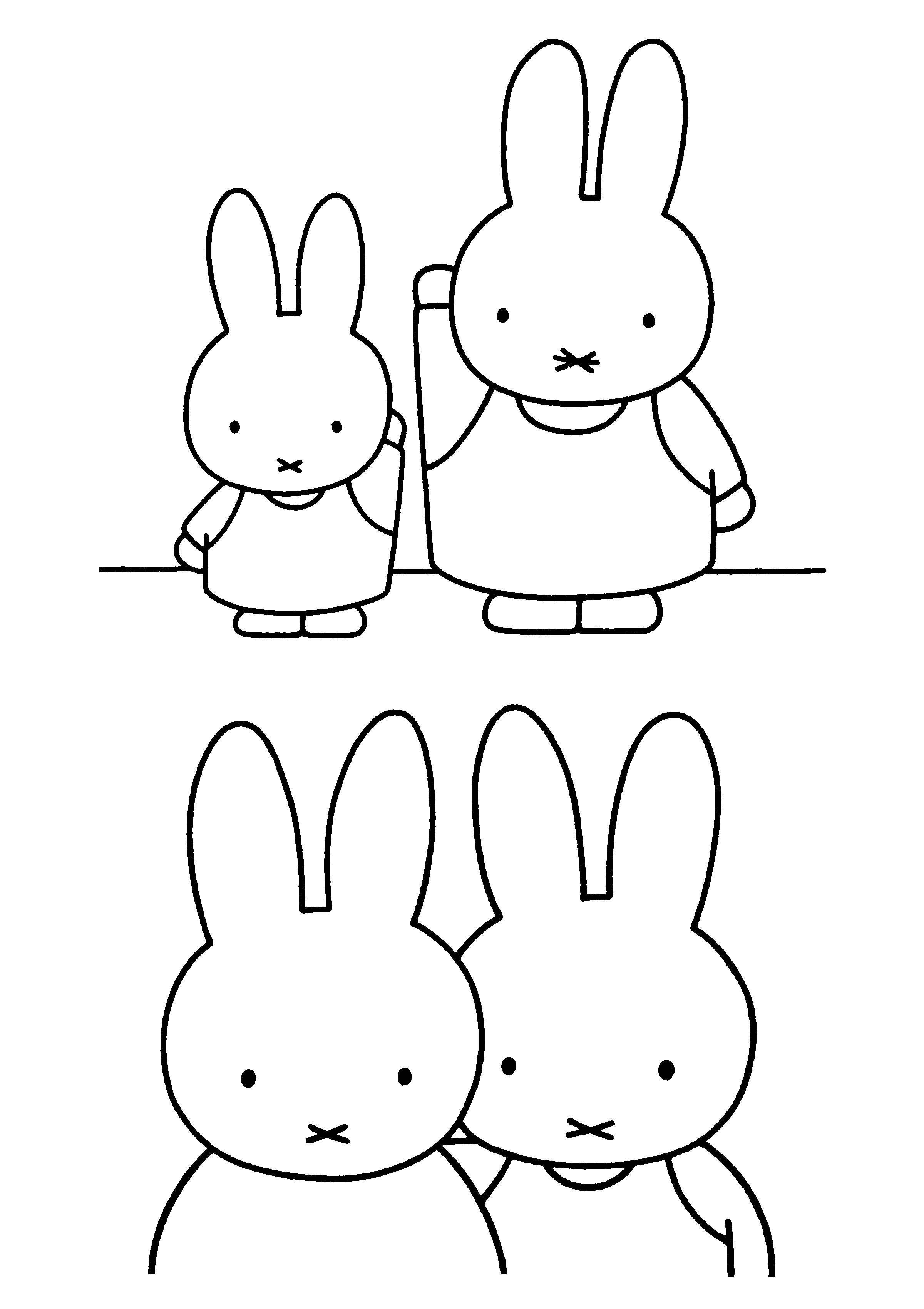 nijntje en haar vriendin kleurplaten konijnentekening