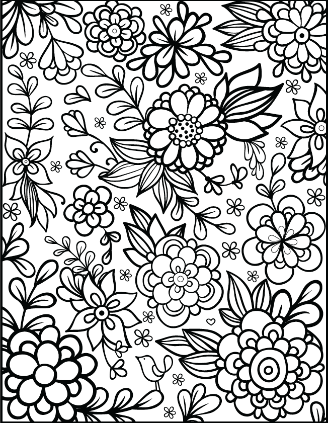 Free Floral Printable Coloring Page From Filthymuggle Com Printable Flower Coloring Pages Detailed Coloring Pages Flower Coloring Sheets