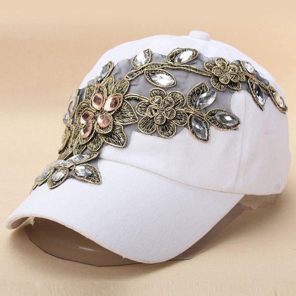 801ec2b2f1c Hot Sale Fashion Denim Baseball Sports Hat Crystal Rhinestone Floral  Snapback Hats Denim Jeans