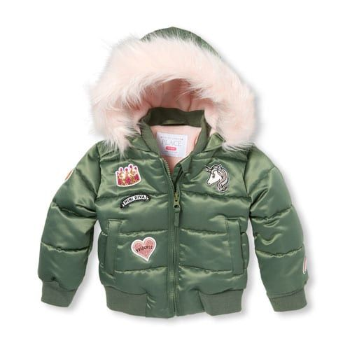 Toddler Girls Patch Faux Fur Hooded Puffer Jacket Puffer