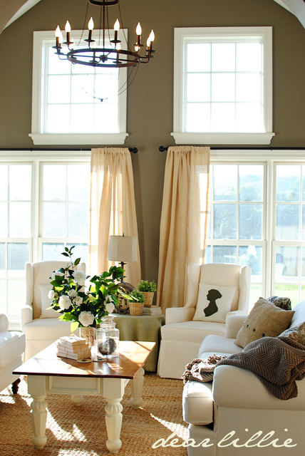 Dear Lillie: The Druke's Great Room - love this paint color Sparrow by  Benjamin Moore