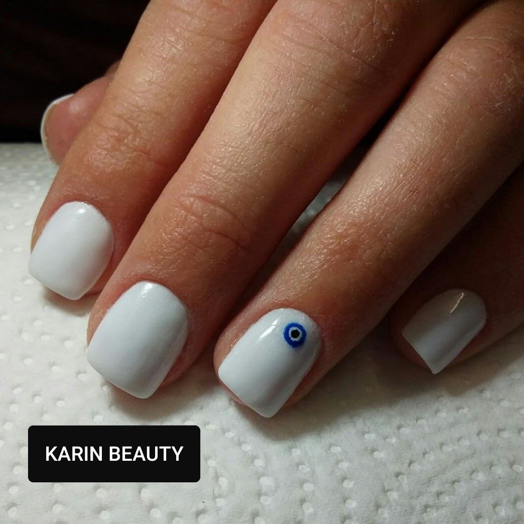 White Dip Powder With Evil Eye Nailart Color Revel Nail Veronica Evil Eye Nails Nails Dip Powder Nails