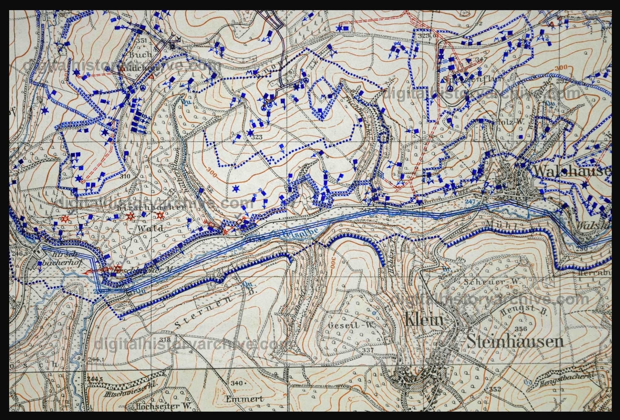 WWII, 1940 - A 1:25,000 map of a section of Westwall defenses