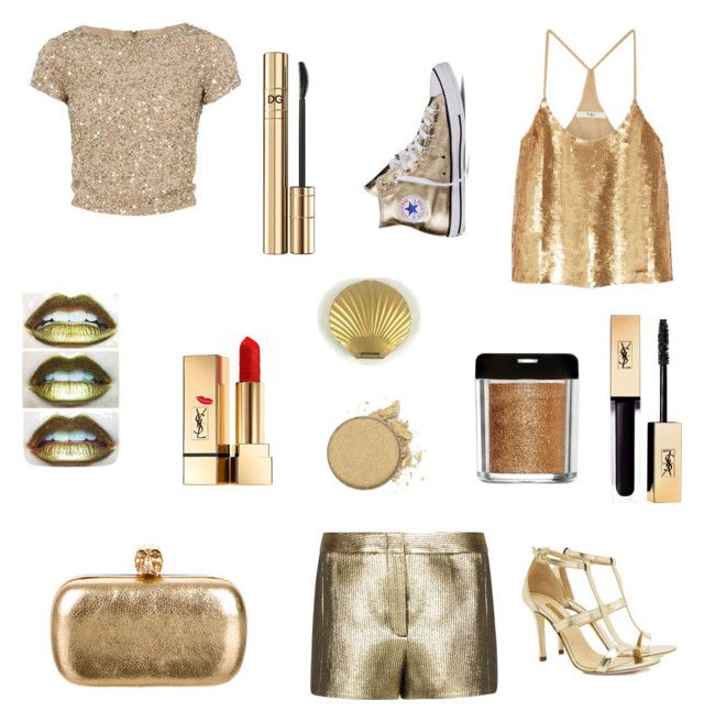 """Gold"" by iris-a ❤ liked on Polyvore featuring Alice + Olivia, TIBI, BCBGMAXAZRIA, Converse, Dee Keller, Alexander McQueen, Yves Saint Laurent and D&G"