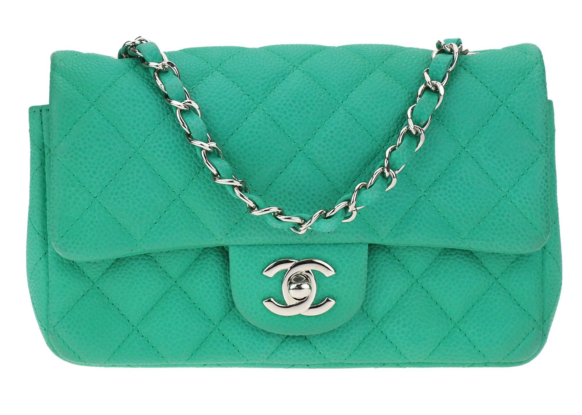 d0169daa1519 Chanel Iridescent Caviar Quilted Square Rectangular Mini Flap Green Bag SHW