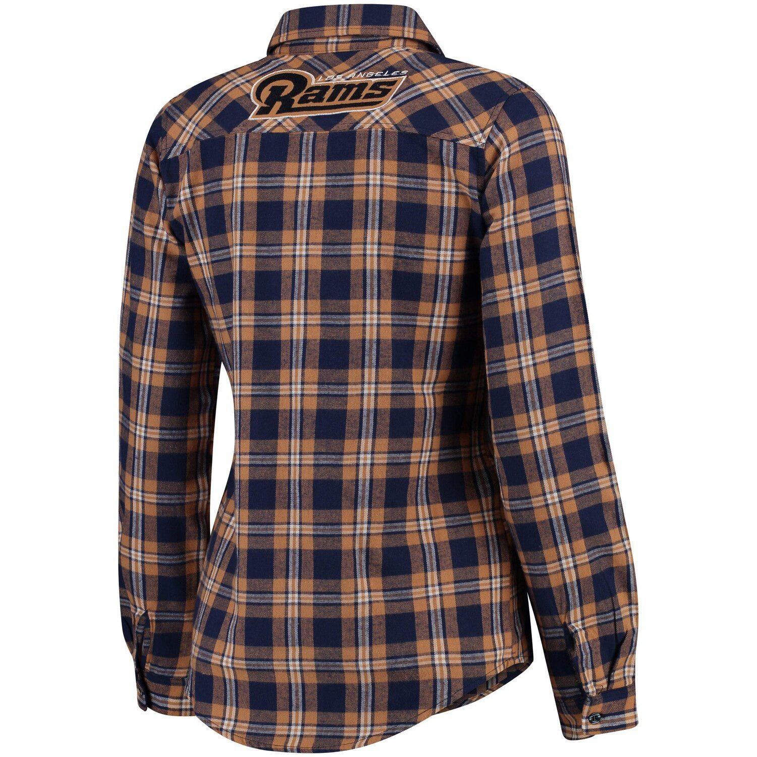 Women S Klew Navy Los Angeles Rams Wordmark Flannel Button Up Long Sleeve Shirt In 2020 Long Sleeve Shirts Shirt Sleeves Women