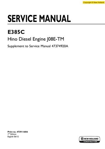 New Holland E385c Hino Diesel Engine Workshop Service Repair Manual In 2020 Hino New Holland Diesel Engine