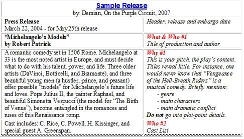 Theater Press Release Samples  Google Search  Theater Companies