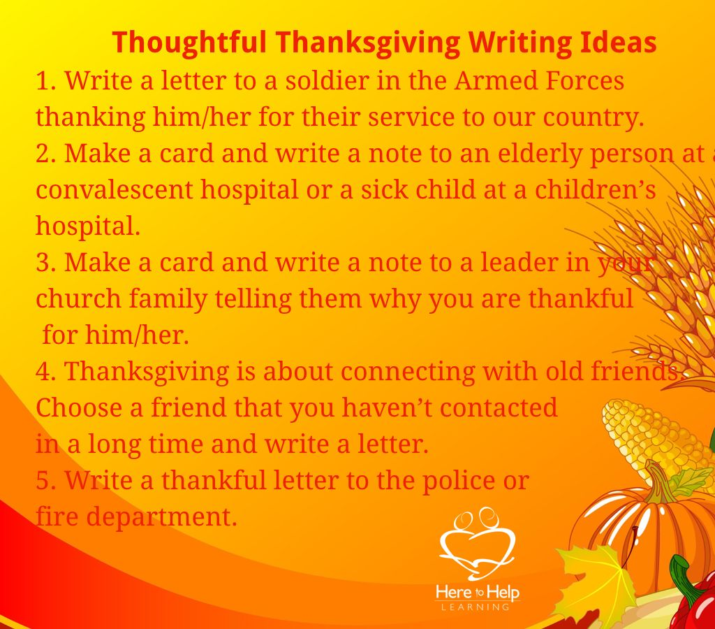 Five Thoughtful Thanksgiving Writing Ideas Need More Fun