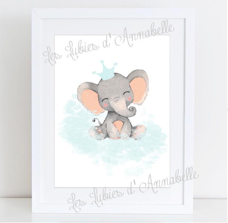Affiches Chambre D Enfant Bebe Elephant Sur Un Nuage Bebe