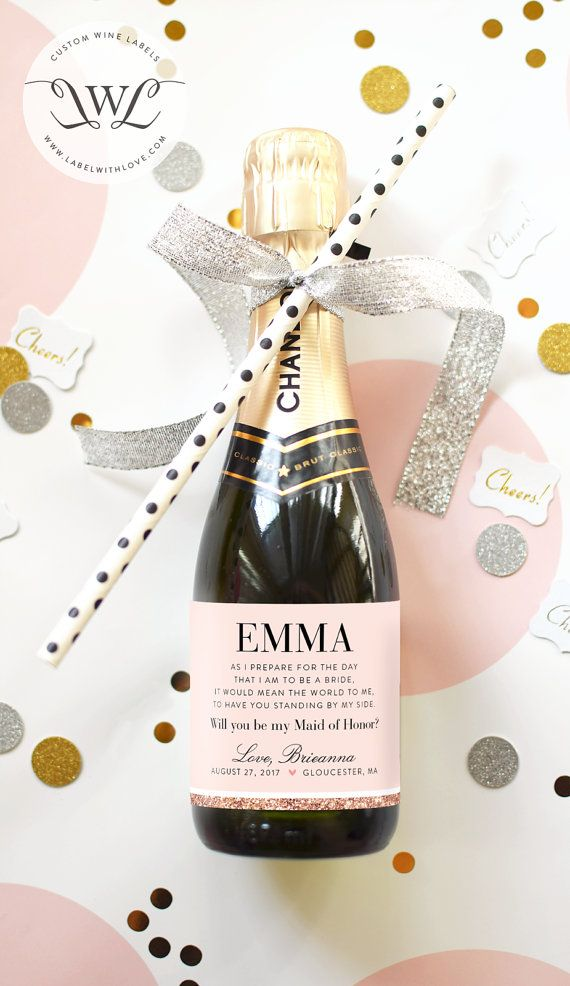 best homemade bridal shower gifts%0A Bridal Shower Favor Mini Champagne Labels  Weatherproof Wedding Shower  Favors Stipe Floral Miss to Mrs