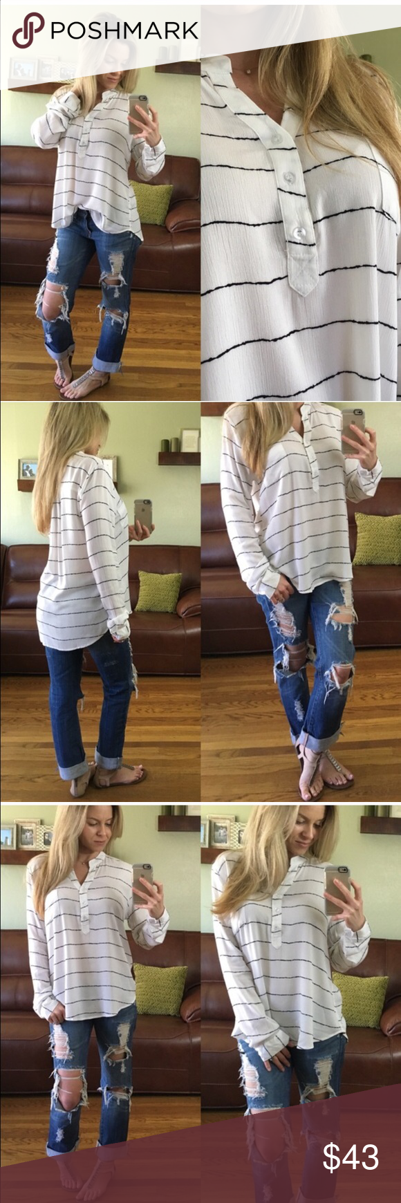 "Reposhing • Delicate Striped Blouse Reposhing and never had a chance to wear! Purchased from the lovely mrsperkins   To purchase: ""Buy Now"" or ""add to bundle"". Purchases/bundles $50+ come with a free gift ❤️ Tops Blouses"