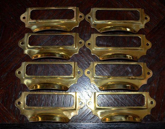 Antique Brass File Drawer Library Cabinet Hardware Finger