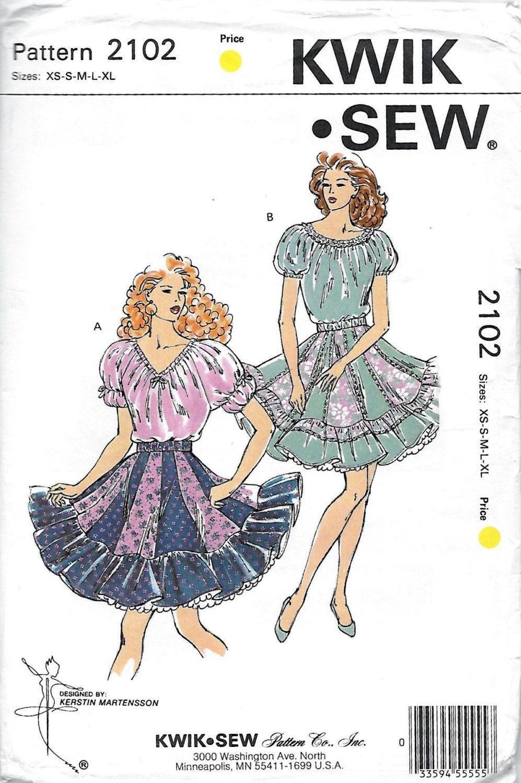 KWIK Sew 2102 Women\'s 90s Square Dance Skirts & Blouse Sewing ...