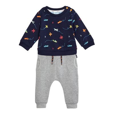 39c40d54205a Baker by Ted Baker Baby boys  blue aeroplane print mock romper suit and  grey jogging