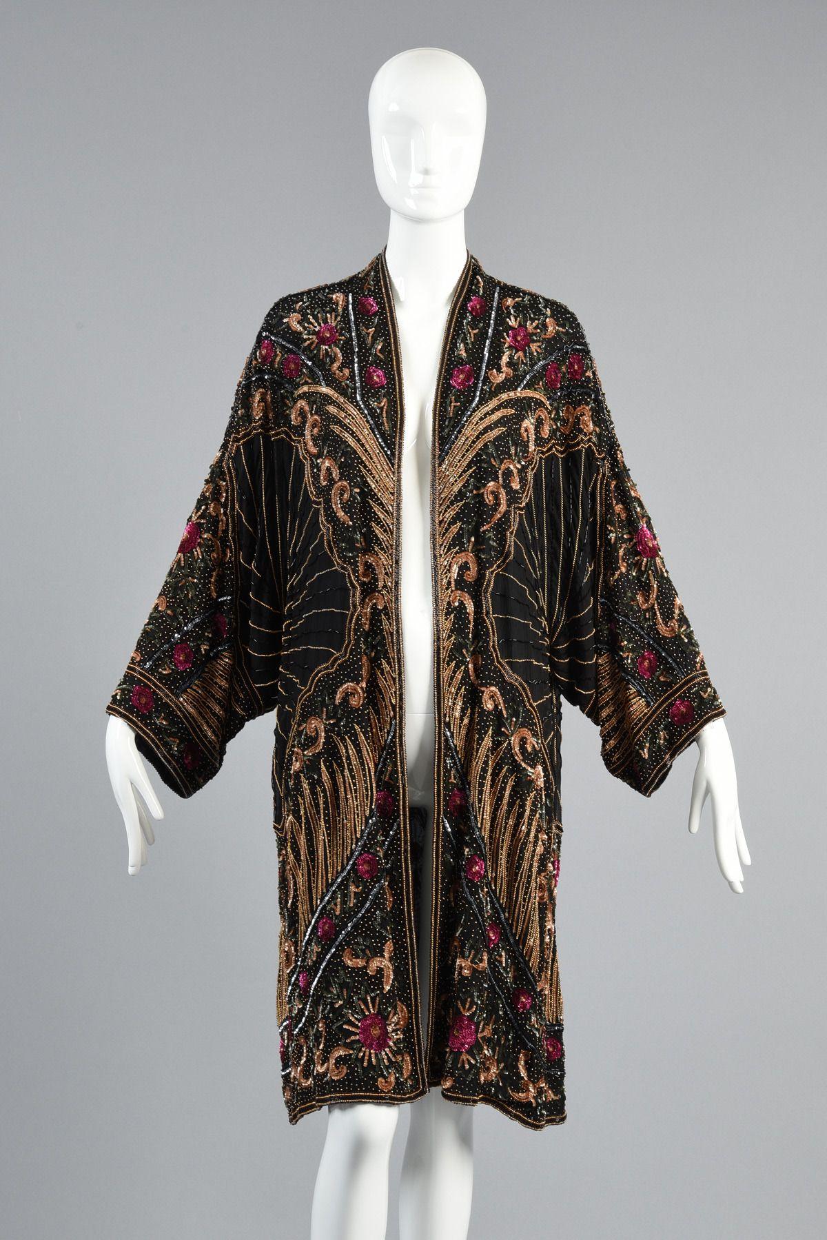 Eclectic Hand Beaded Silk Kimono Jacket | Jacket images, Silk ...